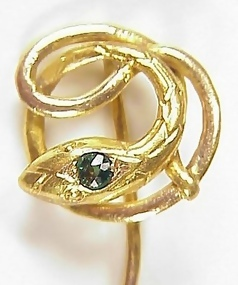 Victorian 18K Gold Tourmaline Snake Stick Pin