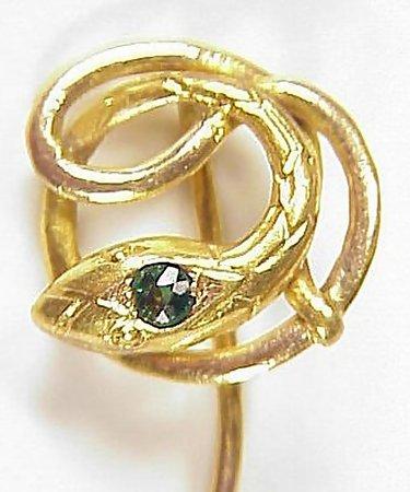 Victorian 18K Gold Tourmaline Snake Stick Pin