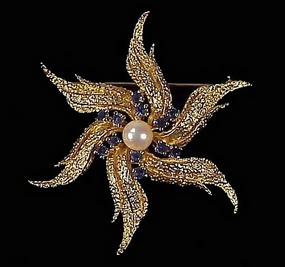 Vintage 14K Gold Sapphire Pearl Starfish Pin
