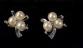 14K White Gold, Zircon Mikimoto-Quality Pearl Earrings