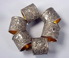 6 Victorian Silverplated Cherub Napkin Rings