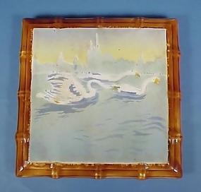 Art Nouveau Majolica Tea Tile