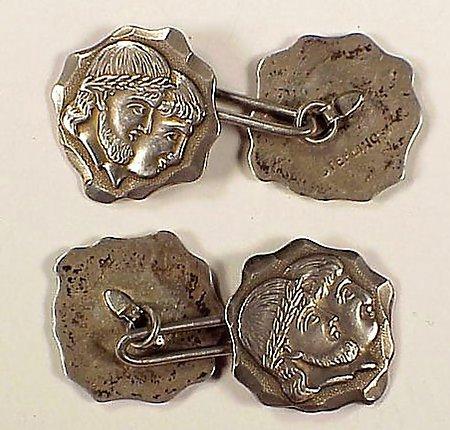 Victorian Medallion Shiebler-Style Silver Cufflinks