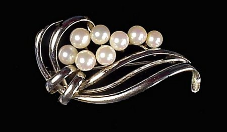 Signed Mikimoto Pearl & Sterling Silver Brooch