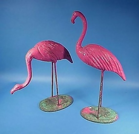 Pair Rare Victorian Cast Iron Flamingos