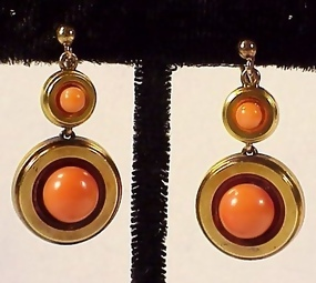 Victorian 18K Yellow Gold & Coral Earrings