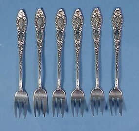 6 Victorian Sterling Silver Cocktail Forks