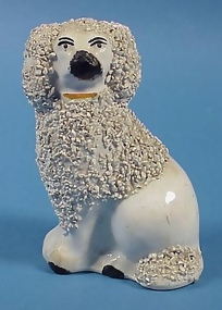 Staffordshire Pottery Poodle Dog Figure