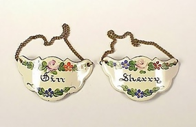 Pair Battersea Style Enamel Bottle Tags-Sherry & Gin