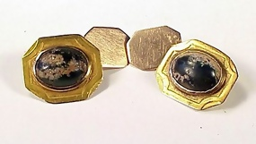 Victorian Aesthetic 14K Gold Turquoise Matrix Cufflinks
