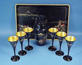Japanese Lacquerware Cocktail Shaker Set
