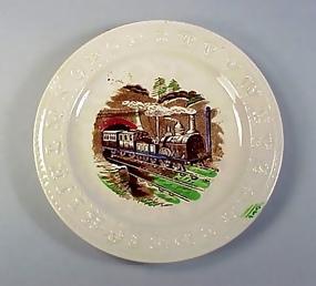 English Staffordshire Pottery Child's ABC Train Plate