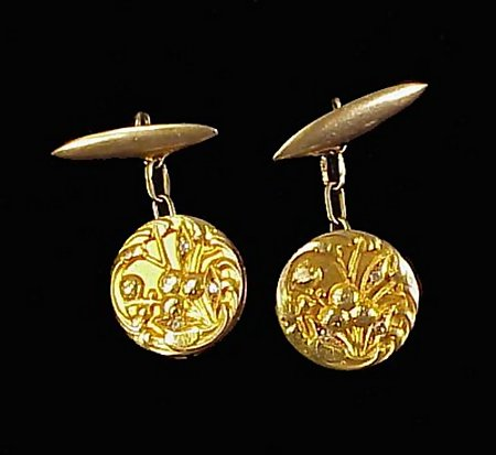 Victorian  18K Yellow Gold & Diamond Cufflinks