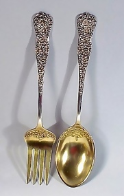 Pr Dominick & Haff ROCOCO Sterling Silver Salad Servers