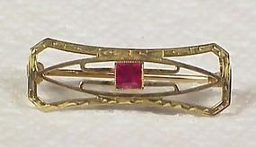 Art Deco 10K Gold & Syn. Ruby Pin