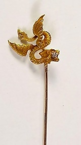 Victorian Art Nouveau 14K Gold Diamond Dragon Stick Pin