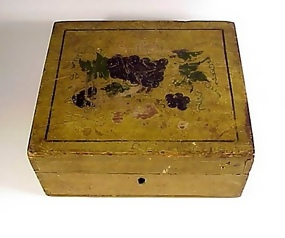 19th Century Paint Decorated Wooden Writing or Work Box