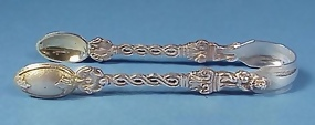 Victorian Gothic Silverplate Sugar Tongs