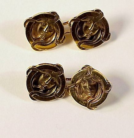 French Art Nouveau 18K Gold Maiden's Face Cufflinks