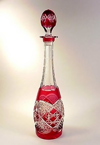 Val St. Lambert Cranberry-to-Clear Cut Glass Decanter