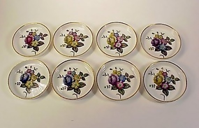 8 Royal Worcester Hand Painted Floral Porcelain Coaster