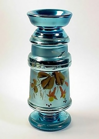 Victorian Peacock Blue Mercury Glass Vase