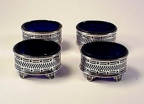 4 George V English Sterling Silver Cobalt Glass Salts
