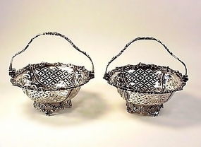 Pair English Edwardian Sterling Silver Footed Baskets