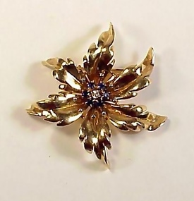 Tiffany Retro 14K Gold, Diamond & Sapphire Floral Pin