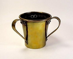 Imperial Russian Hammered Brass 3-Handled Loving Cup
