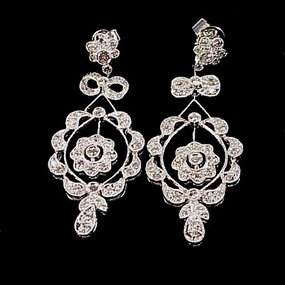 Edwardian Style Platinum & Diamond Earrings