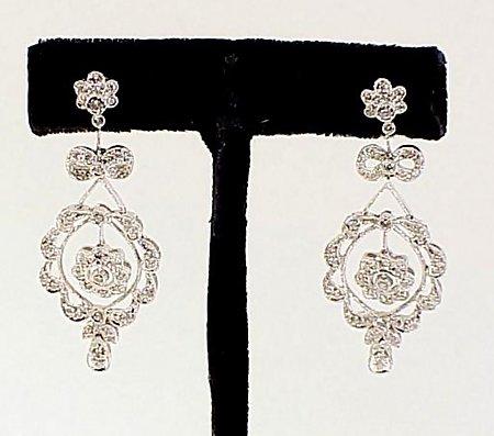 Edwardian Style Platinum & Diamond Earrings