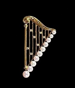 Mikimoto 18K Gold, Pearl & Diamond Harp Brooch