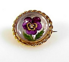 Imperial Austrian 18K Gold Essex Crystal Pansy Brooch
