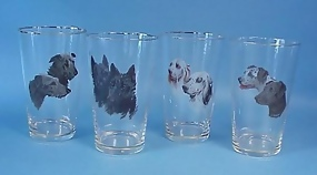 4 Enameled Bohemian Dog Glasses