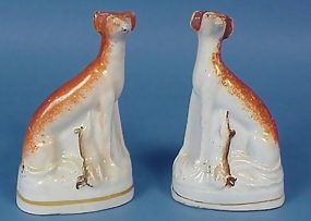 Pair Staffordshire Pottery Whippet Figures