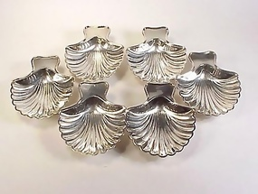 6 Tiffany & Co. Silverplate Scallop Shell Dishes