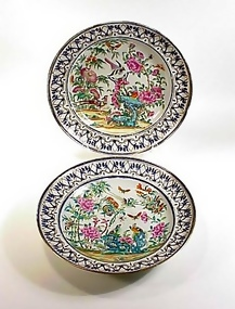 Pair Chinese Export Porcelain Famille Rose Soup Plates