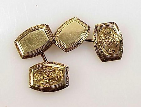 Edwardian 14K Yellow Gold Double-Sided Cufflinks