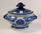 Chinese Export Porcelain Blue Fitzhugh Sauce Tureen