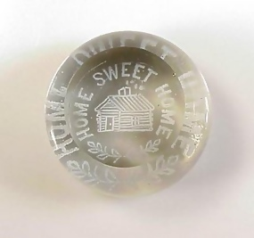 Antique S Jersey Frit HOME SWEET HOME Glass Paperweight