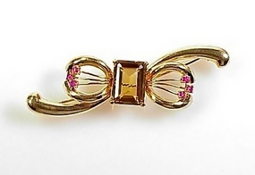 Retro 14K Gold, Citrine & Ruby Bow Brooch