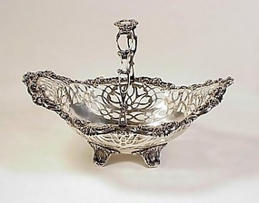 Victorian Gorham Sterling Silver Footed Pierced Basket