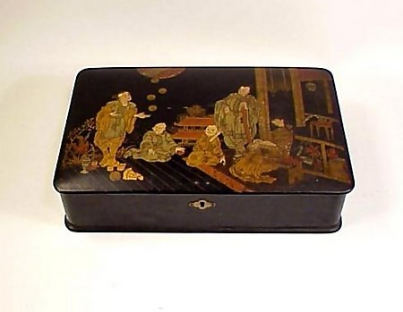 Victorian Lacquered Papier-Mache Chinoiserie Box