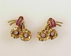 Retro 18K Gold, Ruby & Diamond Floral Earrings