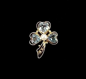 Retro 14K Gold Aquamarine & Pearl Clover Pin
