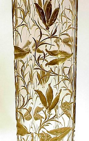 Art Nouveau Harrach Gilt & Engraved Crystal Vase