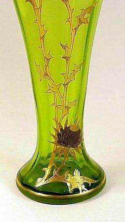 Moser Enameled & Gilt Thistle Cased Green Glass Vase
