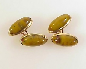 Victorian 10K Gold & Agate Double Sided Cufflinks