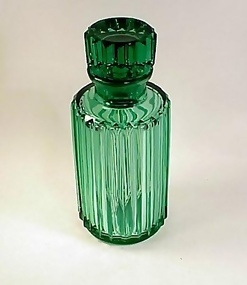 Heavy Green Moser-Type Cut Crystal Liquor Decanter